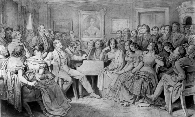 "The drawing ""A Schubert Evening at the Home of Josef von Spaun"""