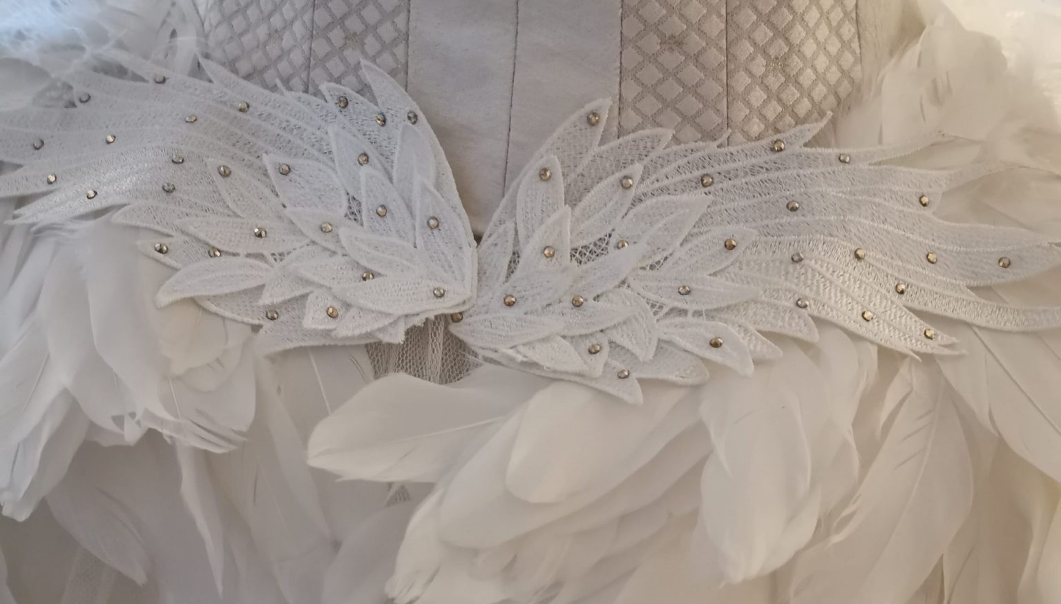 Tutu with white feathers