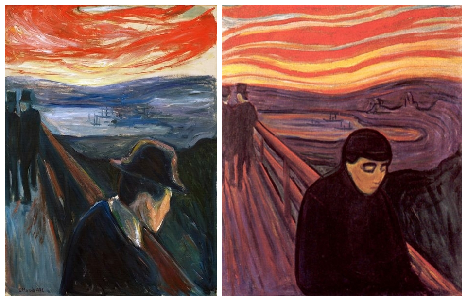 """Two versions of Munch's painting """"Despair"""""""